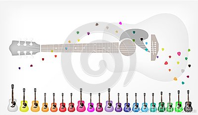 A Set of Colorful Acoustic Guitars Background