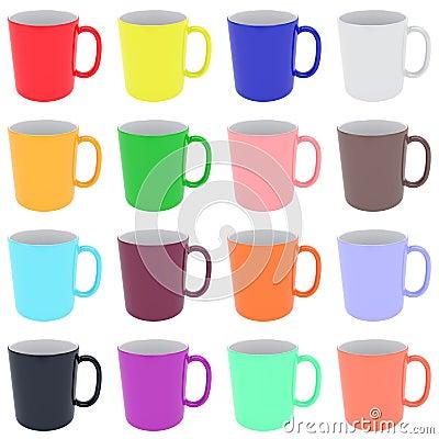 Set of colorful ceramic cups