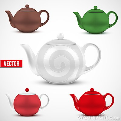 Set of colorful ceramic teapot. Vector.