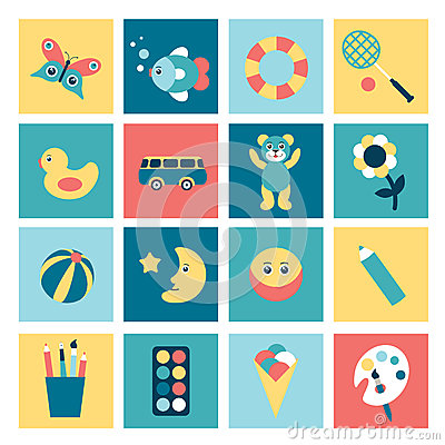 Set of colorful child flat icon.