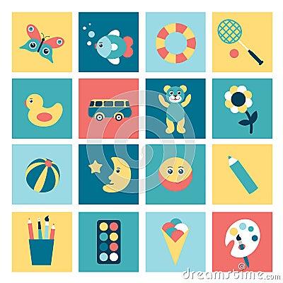 Set of colorful child flat icon.