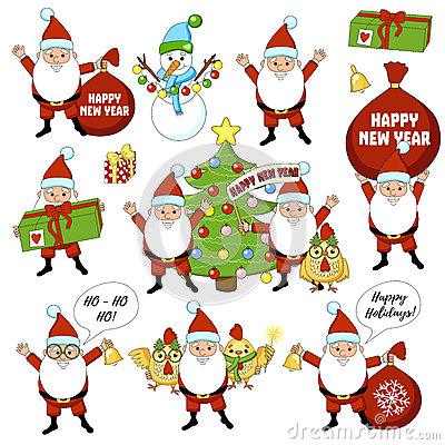Set of colorful christmas characters and decorations. Happy new year big set with christmas tree, gift, bell, cock, rooster Stock Photo