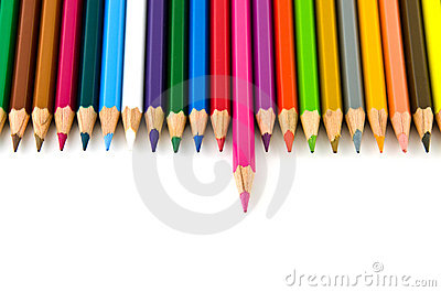 Set of colorful color pencil lined in row