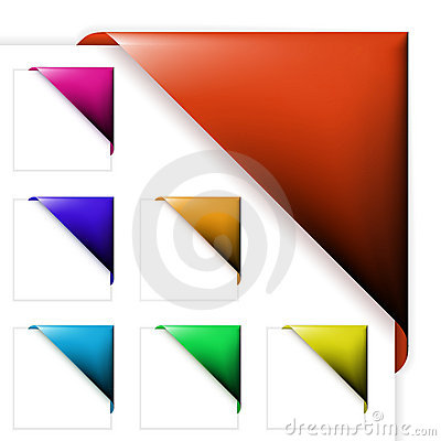 Set of colorful corner ribbons