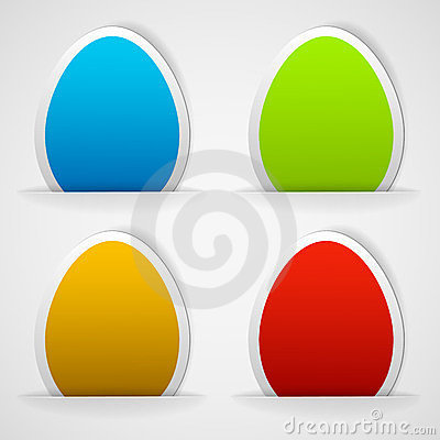 Set of colorful Easter eggs stickers