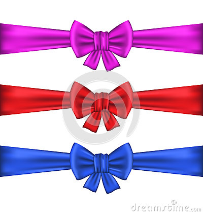 Set colorful gift bows with ribbons