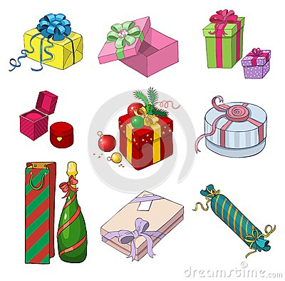 Set of colorful gift packages