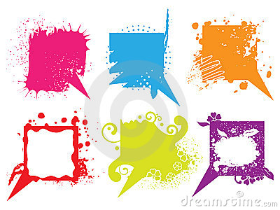 Set of colorful grunge speech bubbles