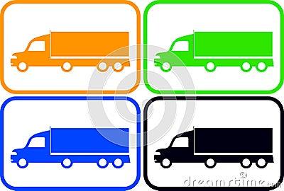 Set colorful heavy trucks