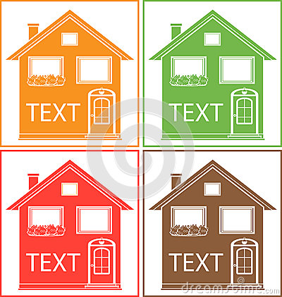 Set colorful home with place for text