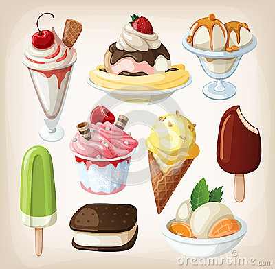 Set of colorful  ice cream.
