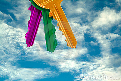 Set of colorful keys on sky