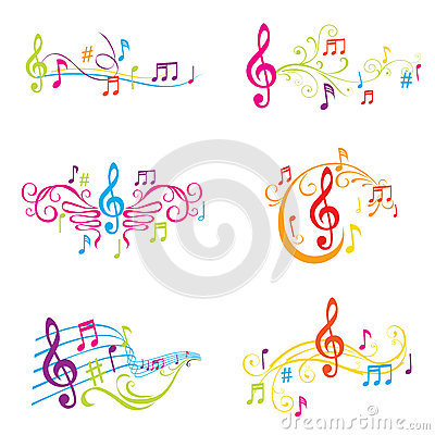 Set of Colorful Musical Notes Illustration