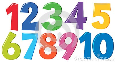 Set of colorful numbers Vector Illustration
