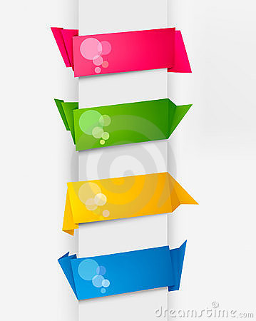 Set with colorful origami paper banners. Vector.