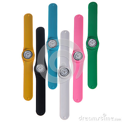 Set of colorful plastic watches