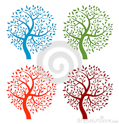 Set of Colorful Season Tree icons