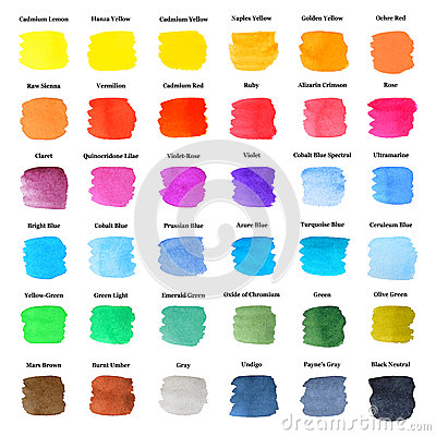 Set of Colorful Strokes as Watercolor Palette