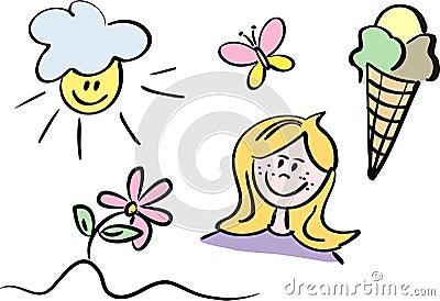 Set of colorful summer doodles
