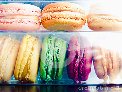 Set of colorful sweet macarons