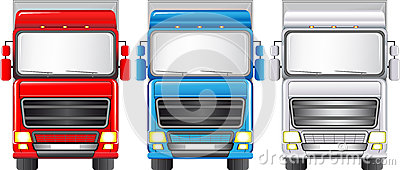 Set of colorful trucks
