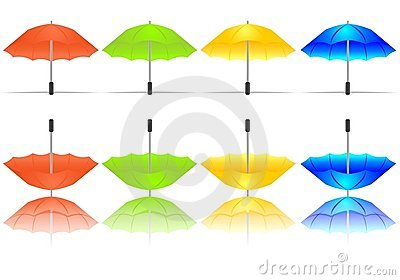 Set of colorful umbrellas, cdr vector