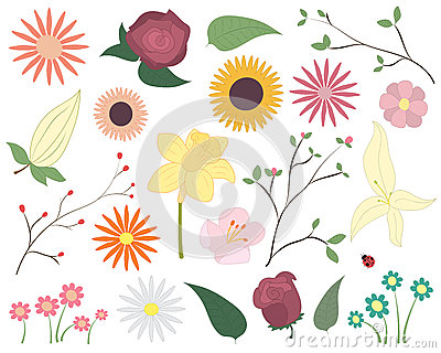 Set of colorful vector flowers. Floral elements including flowers, leaves, blossom and a ladybird. Stock Photo