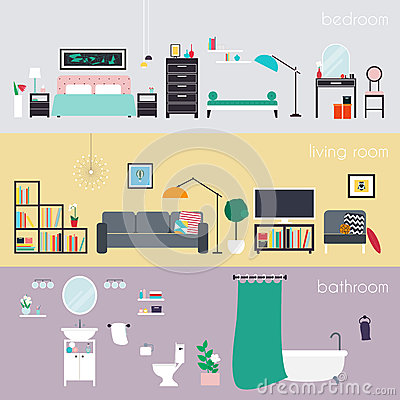 Set Of Colorful Vector Interior Design House Rooms With Furnitur Stock Vector Image 66848288