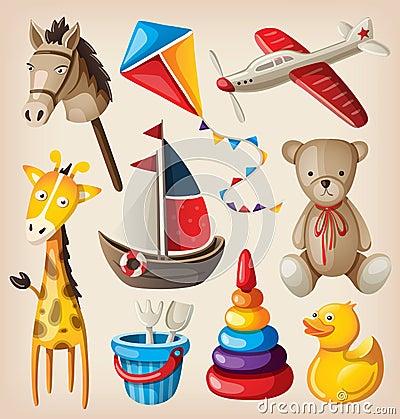 Set of colorful vintage toys