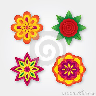 Set of colorful volumetric flowers (collection)