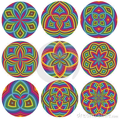 Set of colorful wheels
