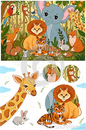 Set of cute forest animals in retro vintage colors. Stock Photo