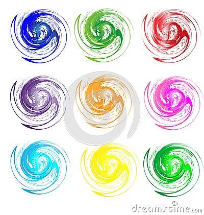 Set of colors swirly grunge