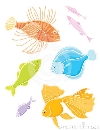 Set colors tropical fishes.