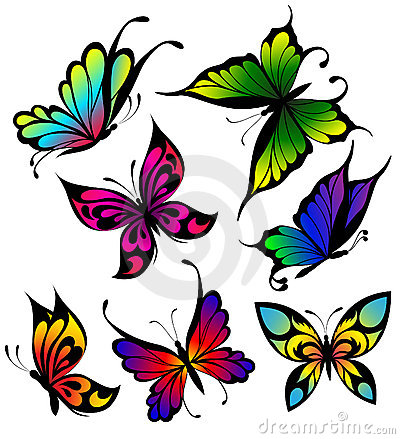Set of colour butterflies of tattoos
