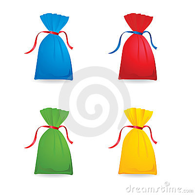 Set of colour sacks