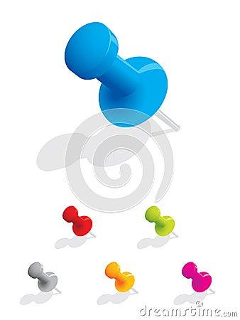 Set of colourful push pins