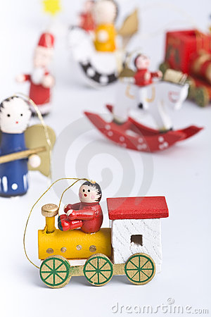 Set of colourful wooden christmas decoration toys