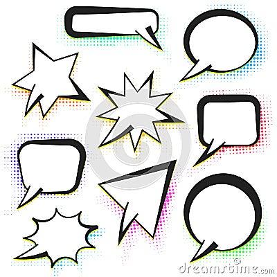 Vector comic speech bubbles with color halftone Stock Photo