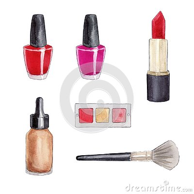 Set of cosmetics watercolor sketch Stock Photo