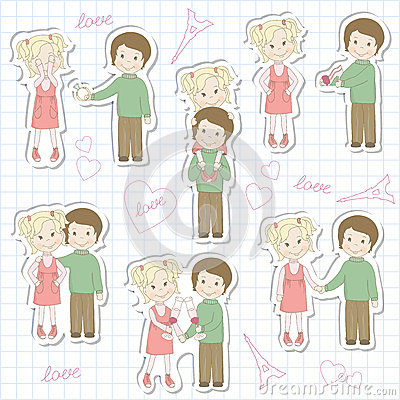 Set of couple teens on sheet of school notebook