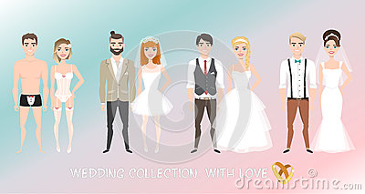 Set of couples newlyweds in cartoon style. Vector Illustration