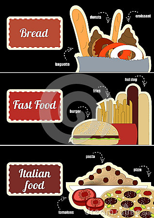 Set of coupons with pictures of food for 3 pieces cuisine