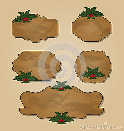 Set crumpled paper label with holly berry