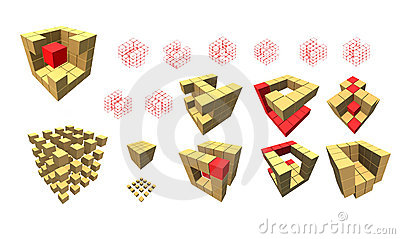 Set of cube pieces for logo