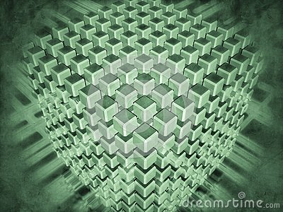 Set of cubes surrounded with luminous flows