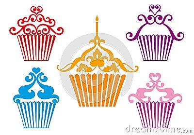 Set of cupcake designs,