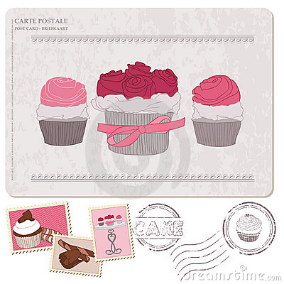 Set of cupcakes on old postcard, with stamps