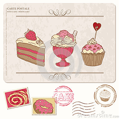 Set of cupcakes on old postcard with stamps
