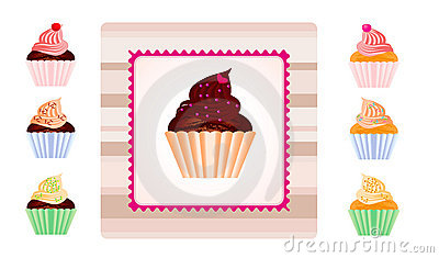Set of cupcakes with sample label